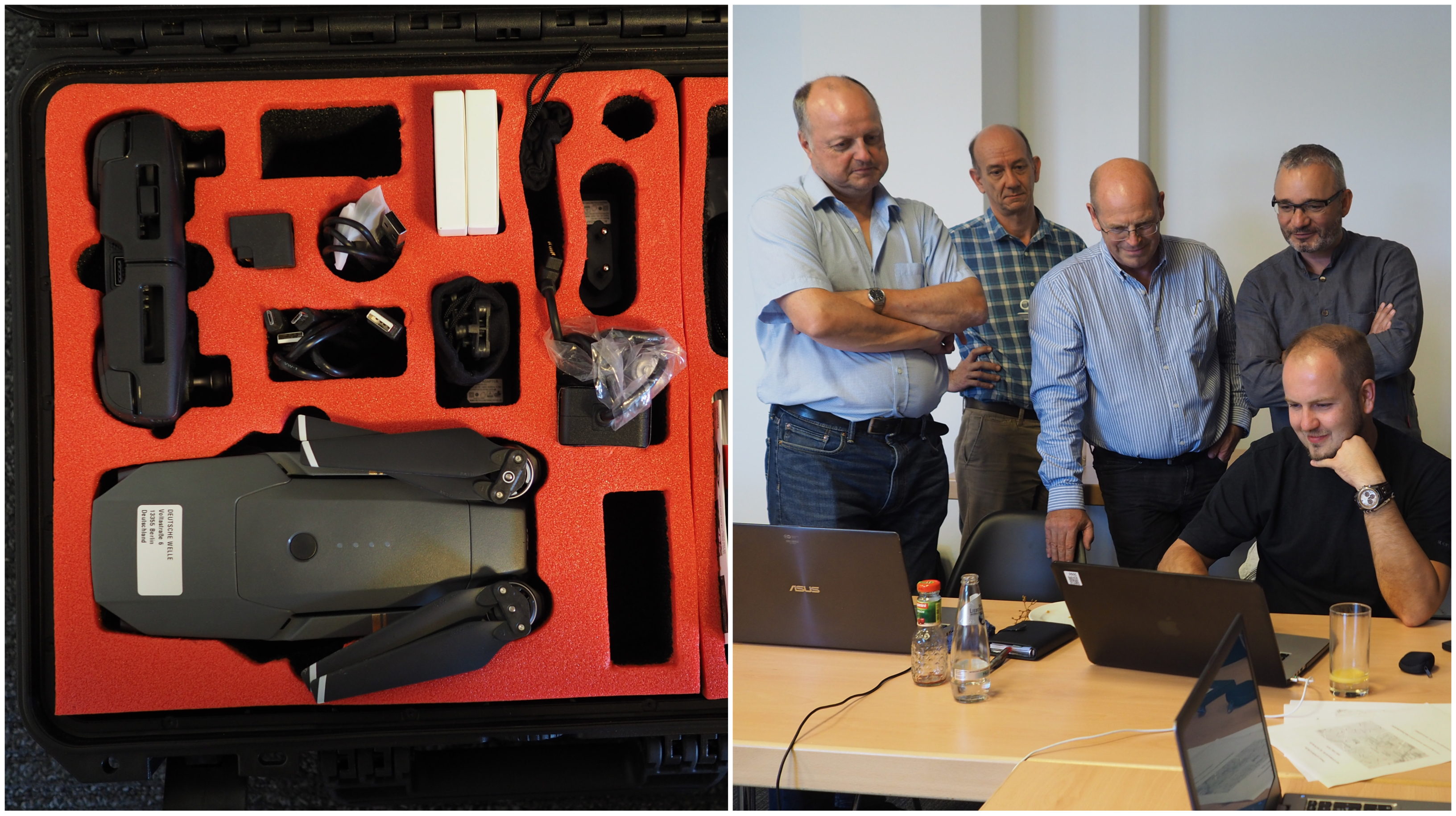 The Drone Case (left) and the Demonstration (right)
