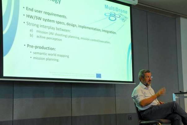 Prof. Pitas presenting MultiDrone at ACCV2018